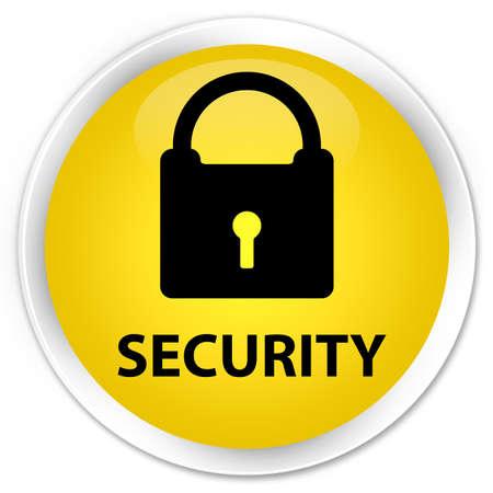key hole shape: Security (padlock icon) yellow glossy round button Stock Photo