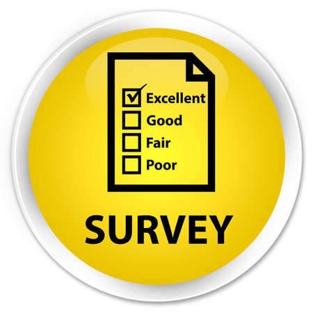 questionnaire: Survey (questionnaire icon) yellow glossy round button