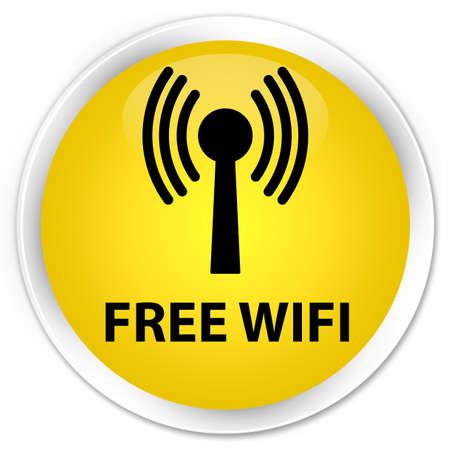 crossover: Free wifi (wlan network) yellow glossy round button