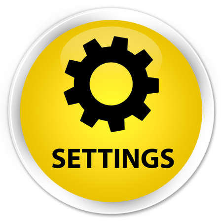 preference: Settings yellow glossy round button Stock Photo