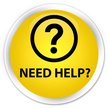 need help: Need help (question icon) yellow glossy round button