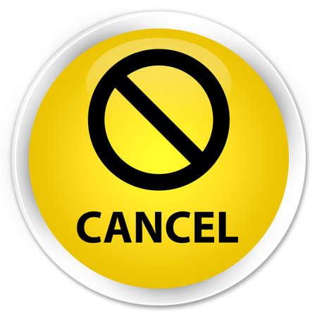 terminate: Cancel (prohibition sign icon) yellow glossy round button