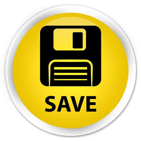 floppy disk: Save (floppy disk icon) yellow glossy round button