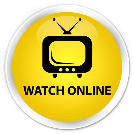 live entertainment: Watch online yellow glossy round button Stock Photo
