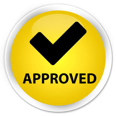 validate: Approved (validate icon) yellow glossy round button