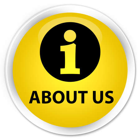 about: About us yellow glossy round button Stock Photo