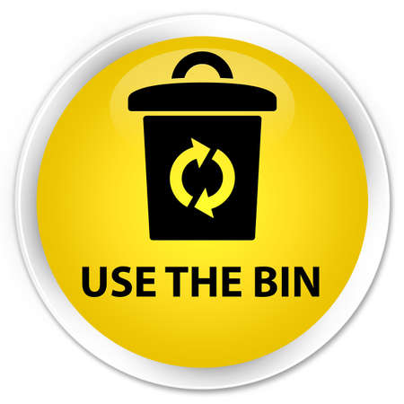 use: Use the bin yellow glossy round button Stock Photo