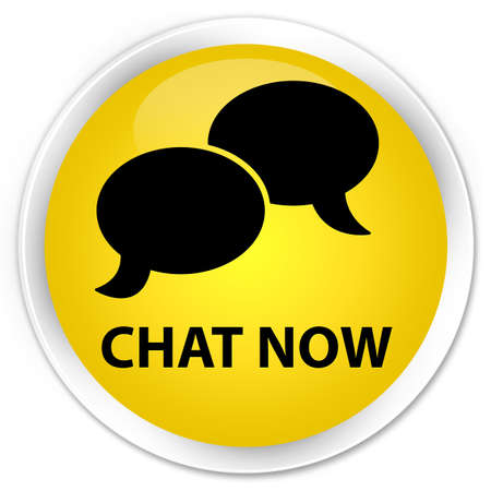 instant message: Chat now yellow glossy round button Stock Photo