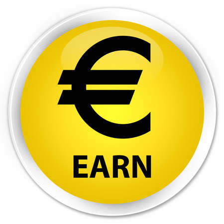 euro sign: Earn (euro sign) yellow glossy round button