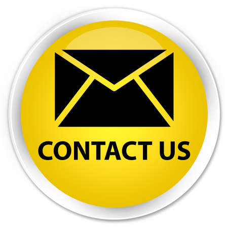 email contact: Contact us (email icon) yellow glossy round button Stock Photo