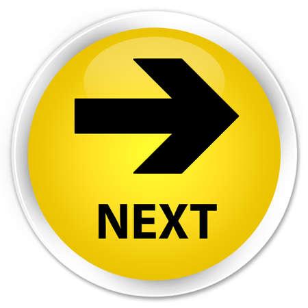 go forward: Next yellow glossy round button Stock Photo