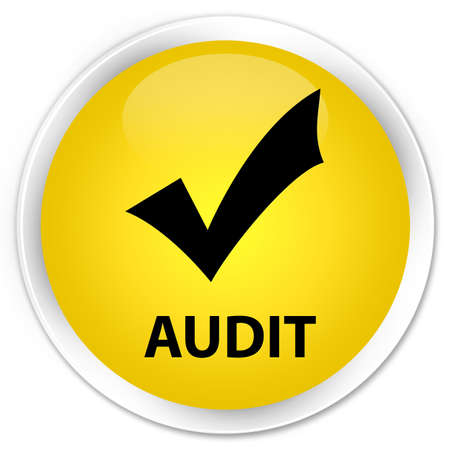 validate: Audit (validate icon) yellow glossy round button