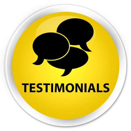 authenticate: Testimonials (comments icon) yellow glossy round button Stock Photo