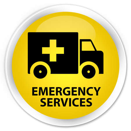 emergency button: Emergency services yellow glossy round button