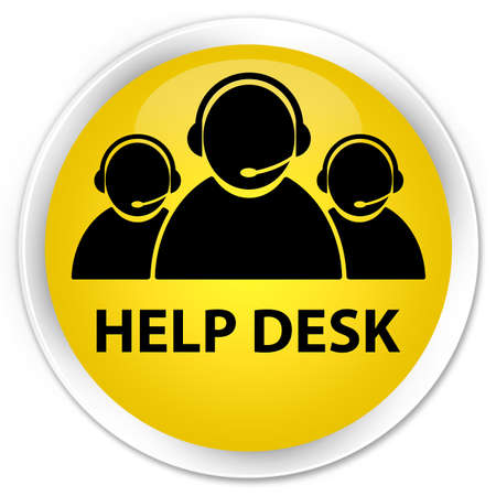 Help desk (customer care team icon) yellow glossy round button