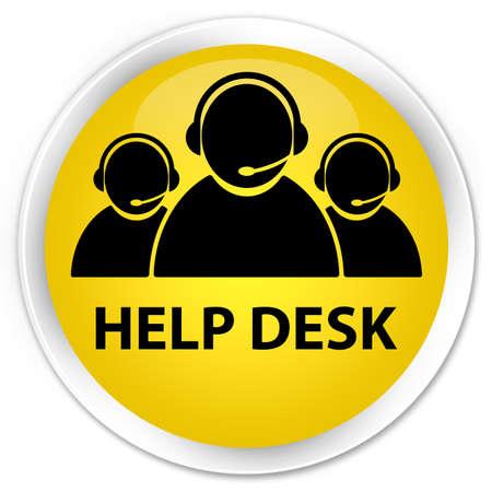 Mesa de ayuda (icono de equipo de atención al cliente) botón redondo de color amarillo brillante Foto de archivo