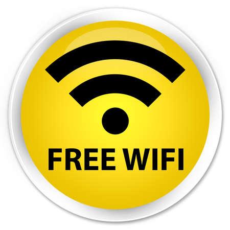 hotspot: Free wifi yellow glossy round button Stock Photo