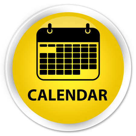 glossy button: Calendar yellow glossy round button