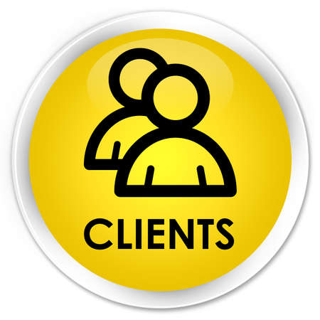 clientele: Clients (group icon) yellow glossy round button