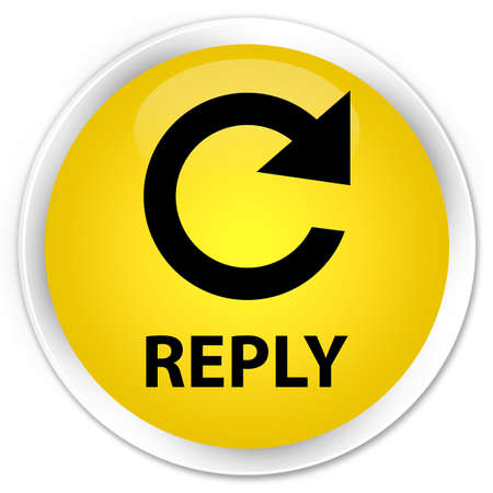 reply: Reply (rotate arrow icon) yellow glossy round button