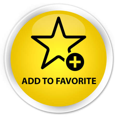 favorite: Add to favorite yellow glossy round button