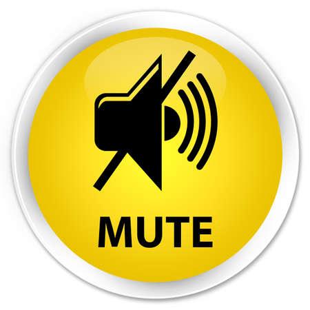 mute: Mute yellow glossy round button Stock Photo
