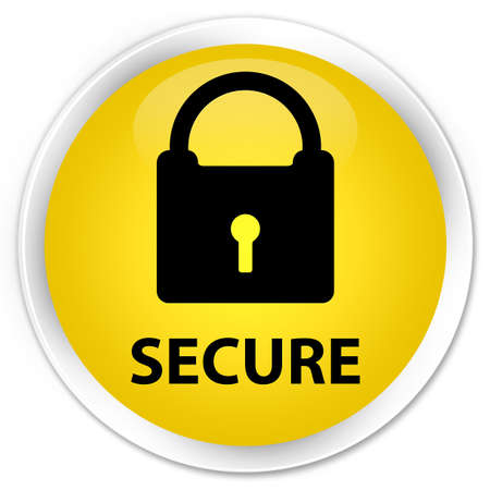 secure: Secure (padlock icon) yellow glossy round button