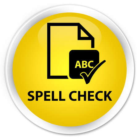 spell: Spell check document yellow glossy round button