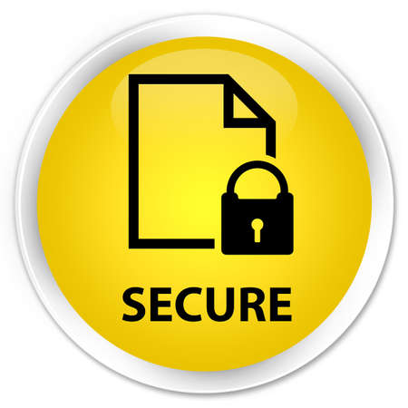 defend: Secure (document page padlock icon) yellow glossy round button Stock Photo