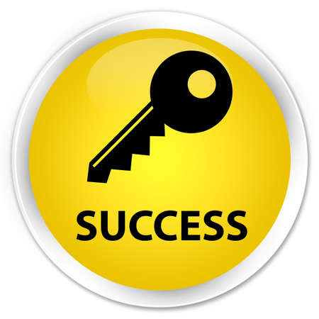 insecure: Success (key icon) yellow glossy round button