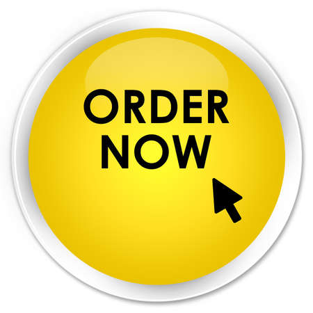 order now: Order now yellow glossy round button Stock Photo
