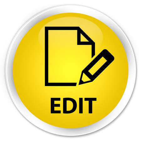 edit: Edit yellow glossy round button Stock Photo