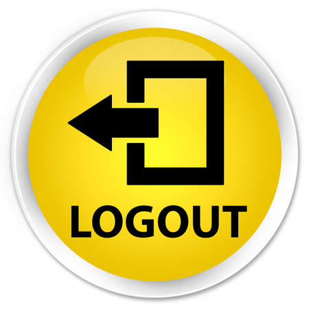 close out: Logout yellow glossy round button Stock Photo