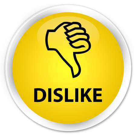 disapprove: Dislike yellow glossy round button Stock Photo