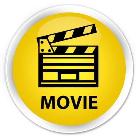 Movie (cinema clip icon) yellow glossy round button