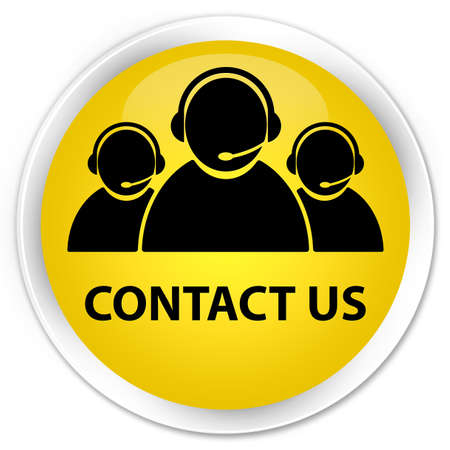 contact icon: Contact us (customer care team icon) yellow glossy round button