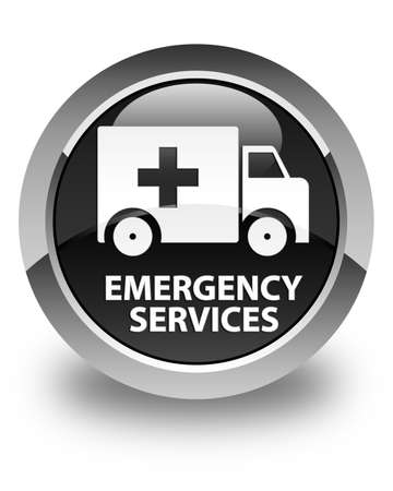 emergency services: Emergency services glossy black round button