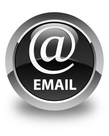 email address: Email (address icon) glossy black round button Stock Photo