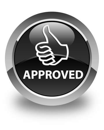thumbs up icon: Approved (thumbs up icon) glossy black round button