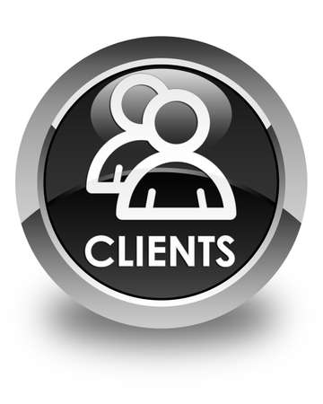 clientele: Clients (group icon) glossy black round button