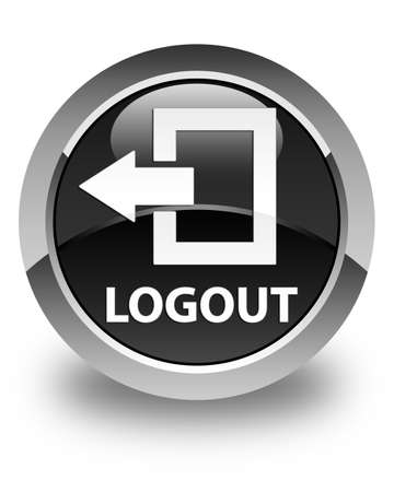 log off: Logout glossy black round button