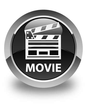 board of director: Movie (cinema clip icon) glossy black round button