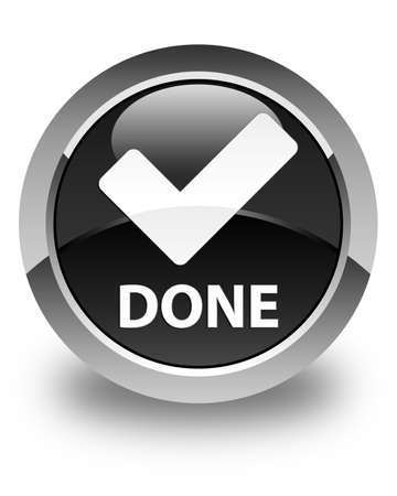 valid: Done (validate icon) glossy black round button Stock Photo