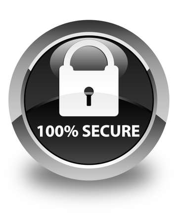 safeguarding: 100% secure glossy black round button