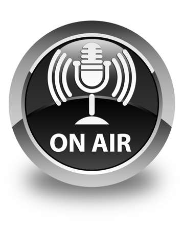 air show: On air (mic icon) glossy black round button Stock Photo