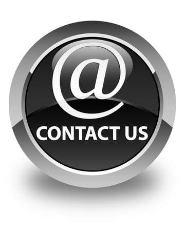 email contact: Contact us (email address icon) glossy black round button Stock Photo