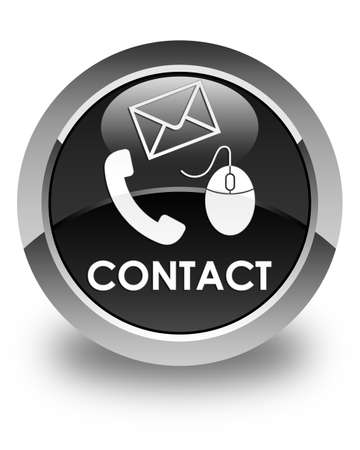 email contact: Contact (phone, email and mouse icon) glossy black round button