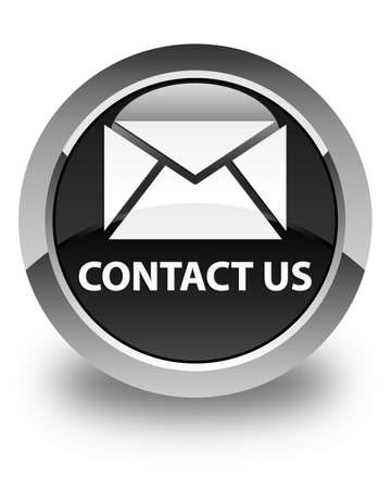 email contact: Contact us (email icon) glossy black round button