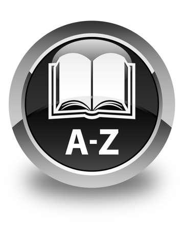 az: A-Z (book icon) glossy black round button