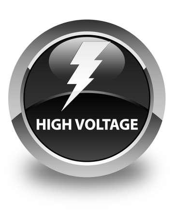 high voltage symbol: High voltage (electricity icon) glossy black round button